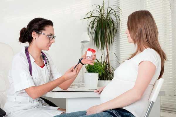 Врач показывает контейнер для анализов беременной женщине