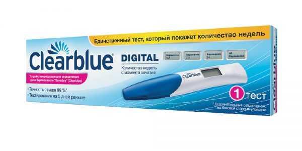 Цифровой тест на беременность Сlearblue в упаковке