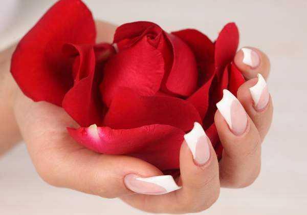 Девушка на ладони держит лепестки роз