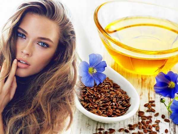 Девушка с распущенными волосами и льняное масло