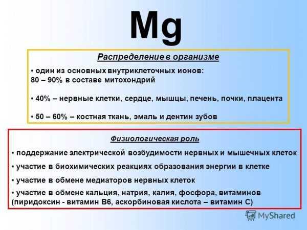 Распределения магния в организме и его физиологическая роль