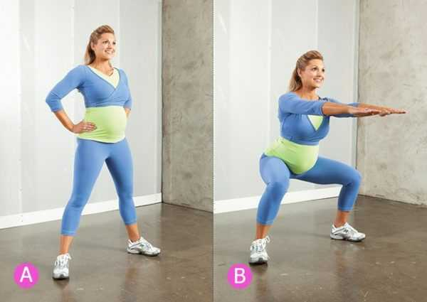 Беременная выполняет упражнение