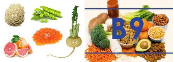 Источники витаминов В8 и В9
