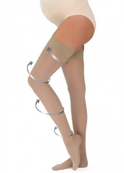 компрессионные чулки на ногах беременной