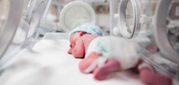 Недоношенный малыш в инкубаторе