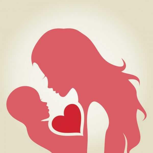Схематическое изображение матери и сына, между ними одно сердце на двоих