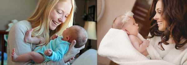 Юная мама с новорождённым мальчиком и более зрелая — с маленькой дочкой